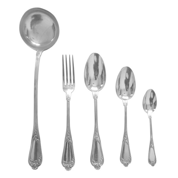 Louis XV style sterling silver flatware, 49 pieces by Henri Soufflot