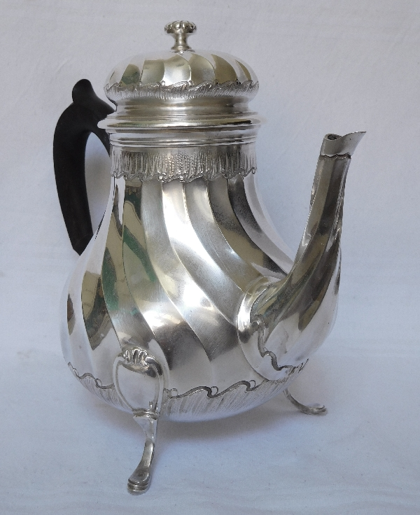 Tall sterling silver tea pot, Louis XV style, silversmith Puiforcat