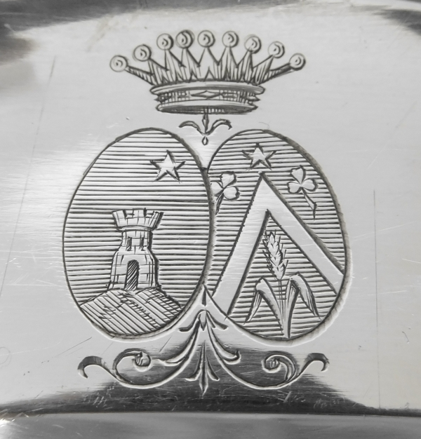 Louis XV style sterling silver dish, coat of arms and crown of count, silversmith Boulenger