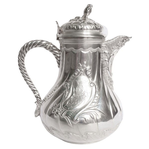 Sterling silver coffee pot, Louis XV Rococo style, SD monogram and Viscount crown engraved, late 19th century