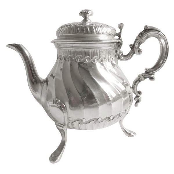 Tetard Frères : sterling silver Louis XV Rococo style teapot for one