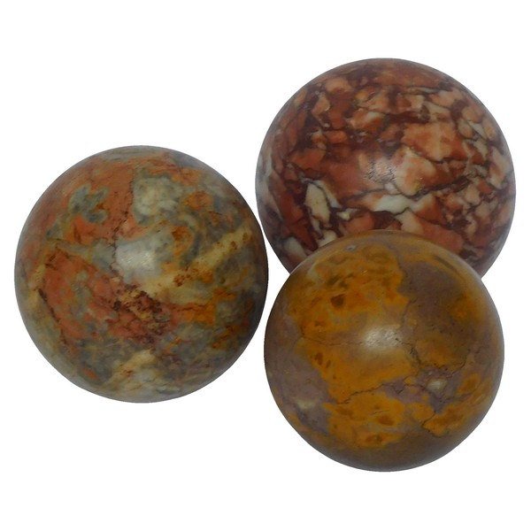 Grand Tour souvenir : 3 decorative marble balls, 19th century