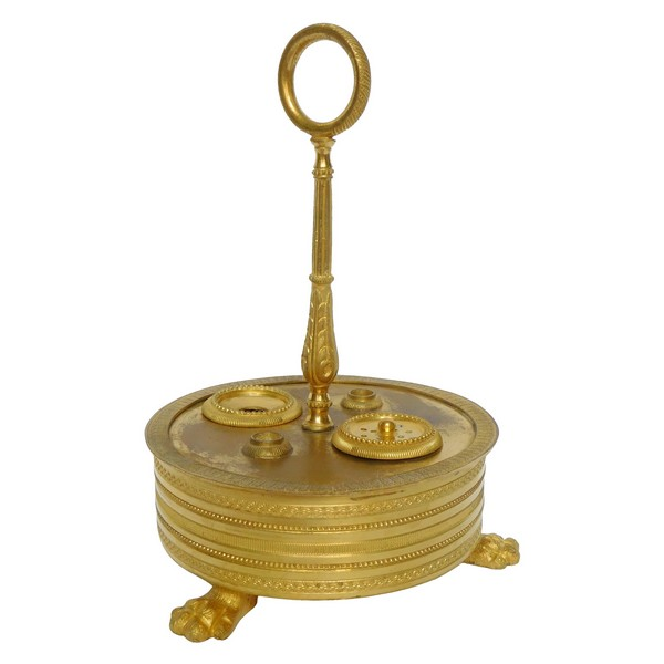 Empire ormolu inkwell, early 19th century production circa 1810 - 1820