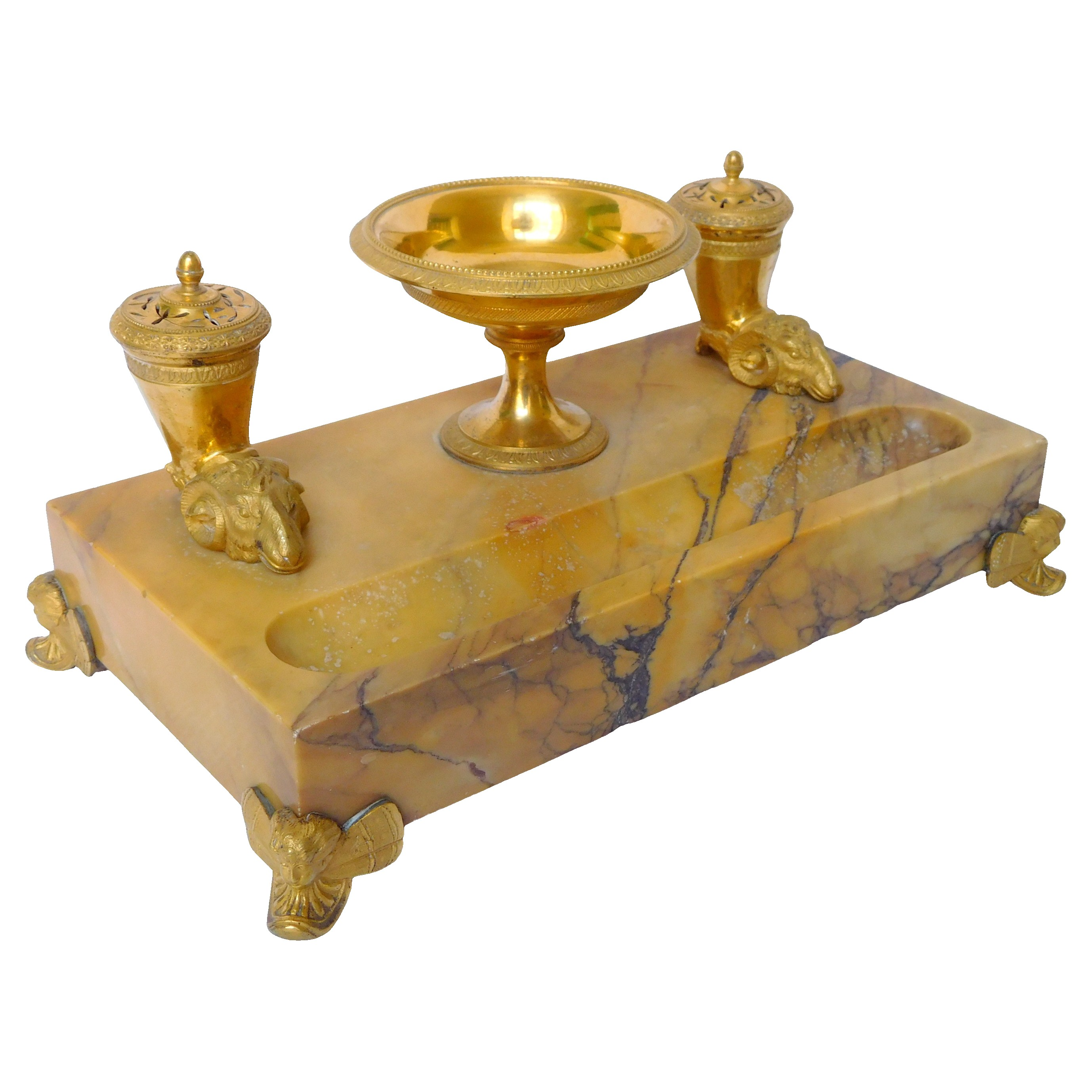 Empire marble and ormolu inkwell, Charles X production - early 19th century