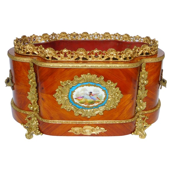 Large rosewood ormolu and porcelain planter, Maison Vervelle - Paris - circa 1850