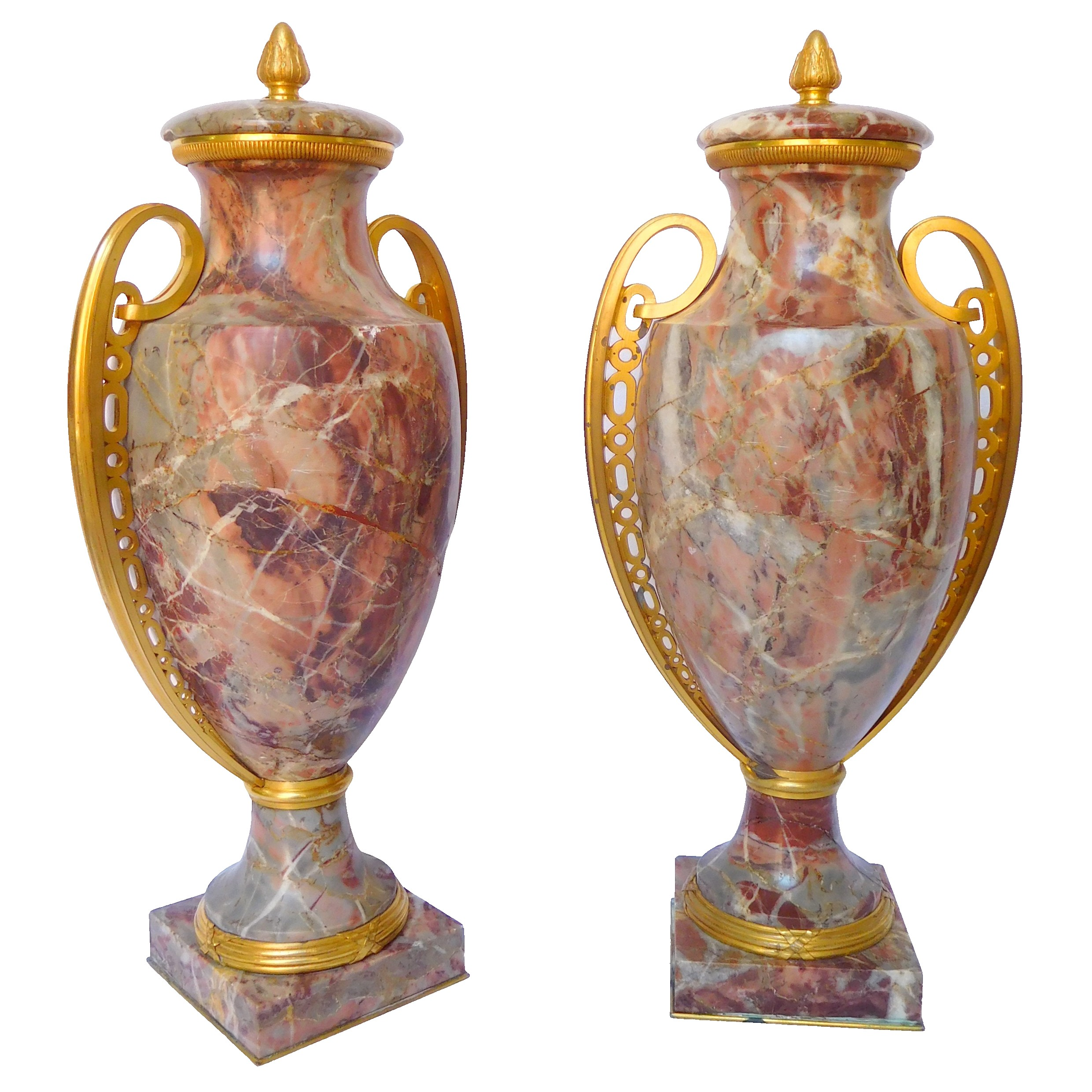 Pair of Louis XVI style vases, ormolu and marbre Art Deco production