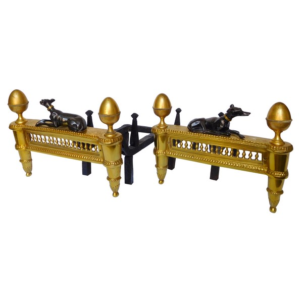 Pair of large Louis XVI ormolu & patinated bronze andirons - early 19th century circa 1800