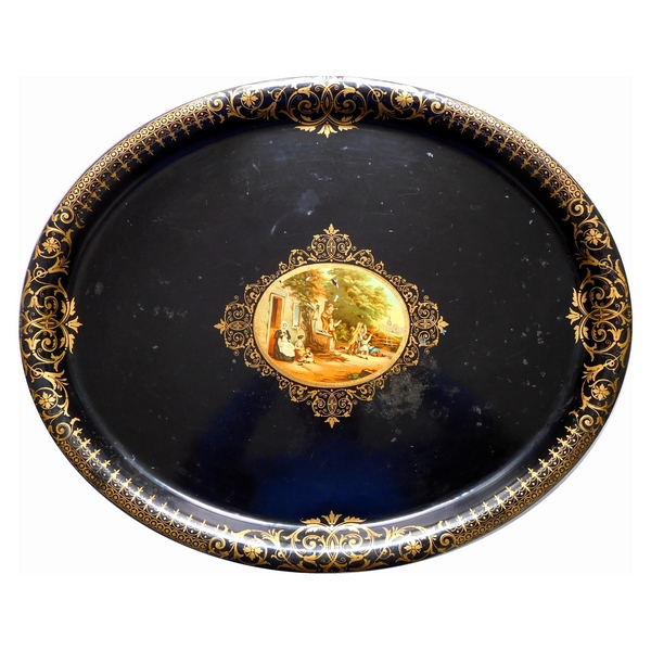 Napoleon III - mid-19th century painted iron tray