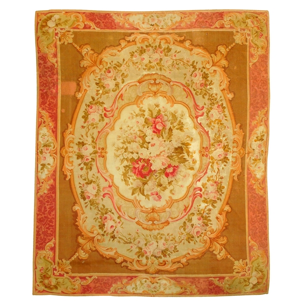 Large Louis XV style Aubusson carpet, 19th century - Napoleon III production - 340cm X 250cm