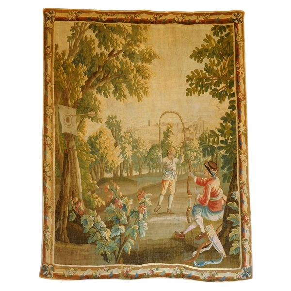 Aubusson tapestry, 18th Century, wool and silk : games in the park, Louis XVI period 160cm x 200cm