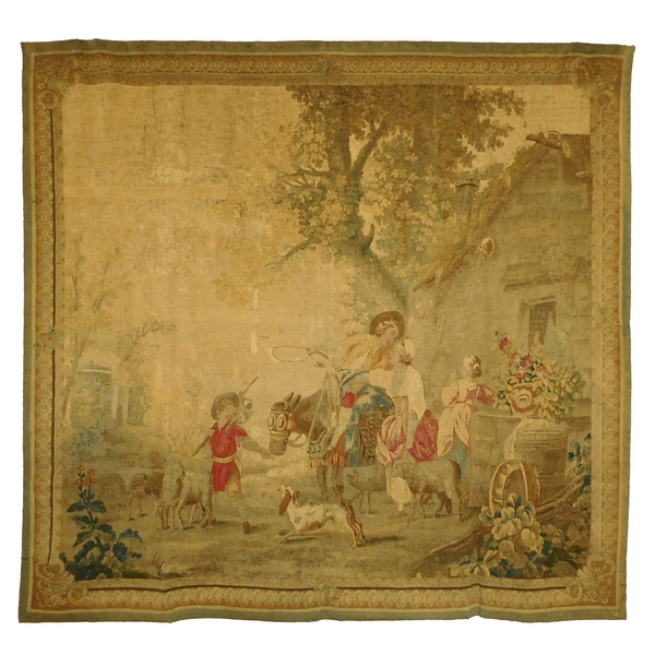 Aubusson tapestry, wool & silk, Louis XVI period, 18th century - 221cm X 228cm