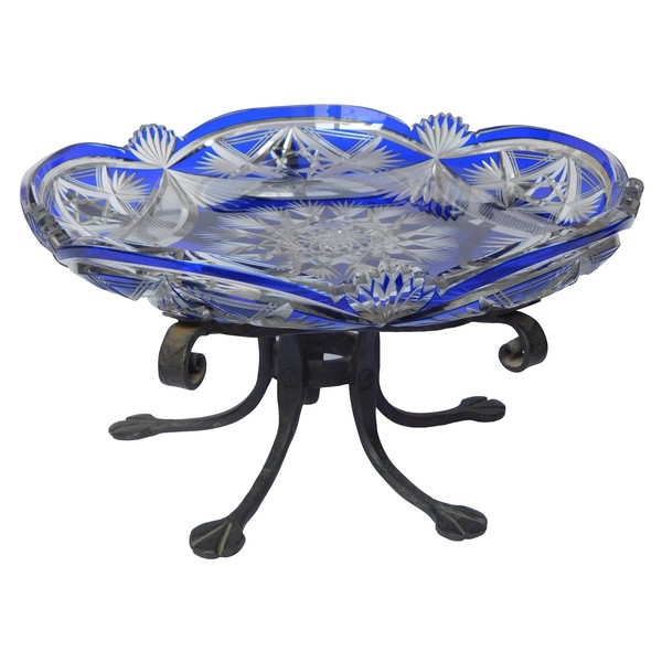 St Louis blue overlay crystal and wrought iron table center piece, Art Nouveau period circa 1900