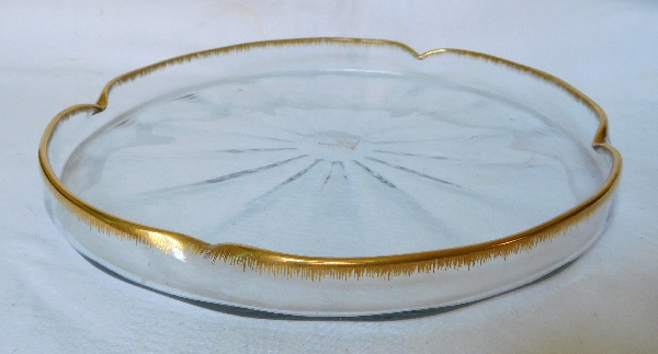 Large Daum crystal tray enhanced with fine gold, circa 1900 - signed