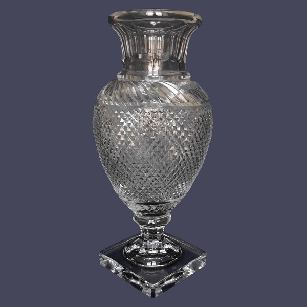 Tall Baccarat crystal vase, Empire style, late 19th century