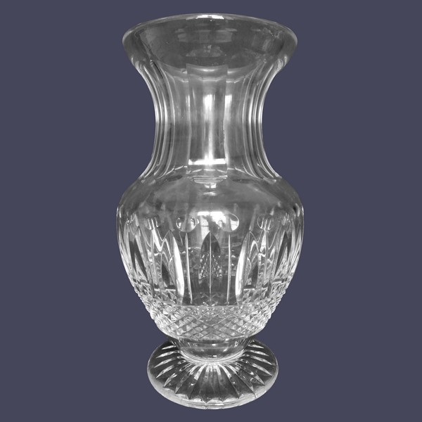 Tall St Louis crystal vase, Tommy pattern - signed