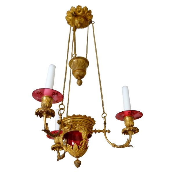 Ormolu and red crystal chandelier - church lamp, 19th century