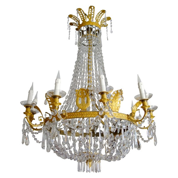 Large Empire crystal & ormolu chandelier, early 19th century circa 1810-1820
