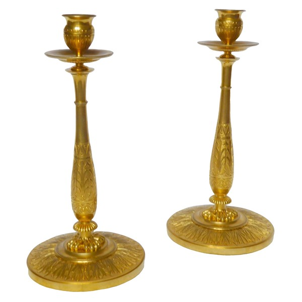 Claude Galle : paire of Empire ormolu candlesticks, early 19th century