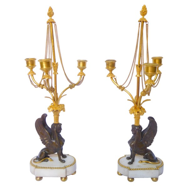 Pair of late 18th century ormolu and marble sphinxes-shaped candelabras