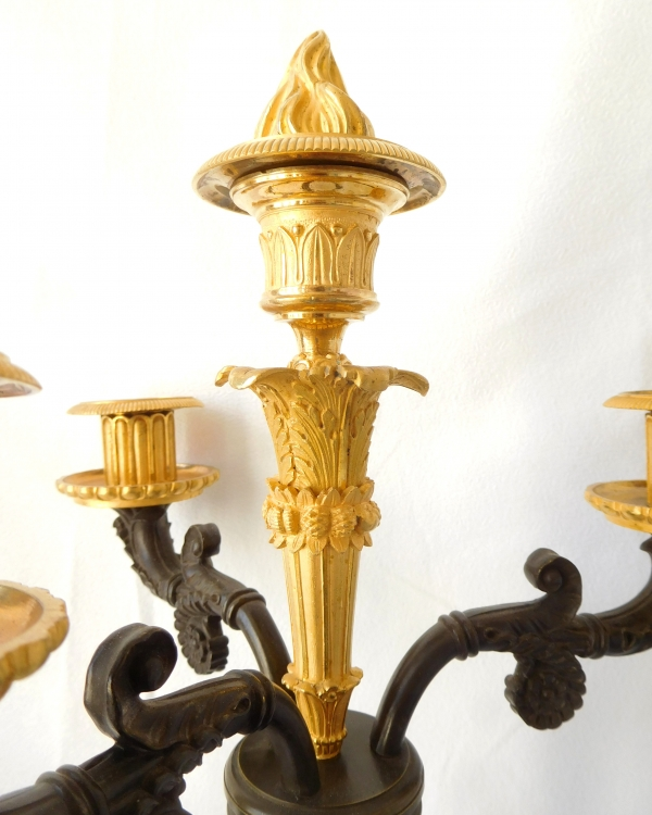 Pair of tall Empire ormolu and bronze candelabras attributed to Gérard Jean Galle
