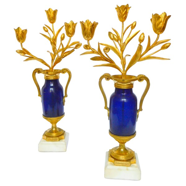 Pair of Louis XVI candelabras, Le Creusot blue glass, ormolu and marble