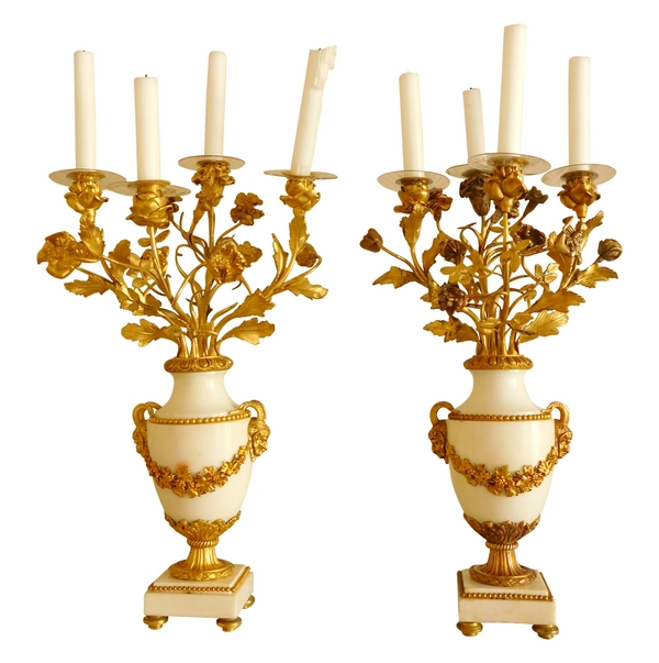 Pair of marble and ormolu Louis XVI style candelabras - 19th century circa 1890