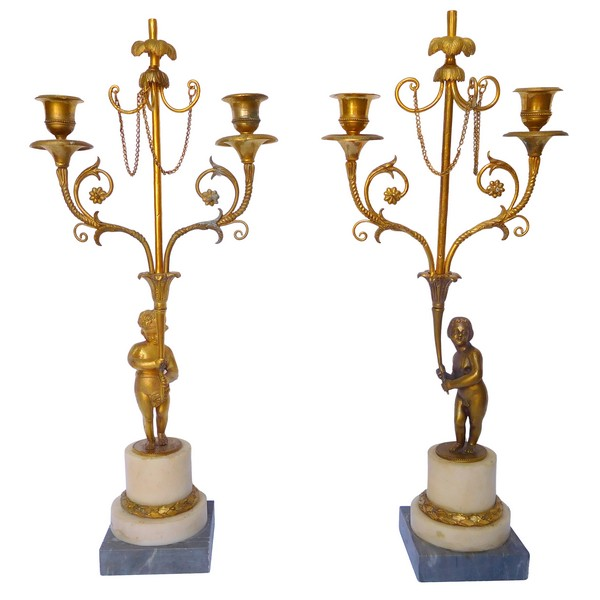 Pair of Louis XVI style ormolu and marble candelabras, Napoleon III production circa 1850