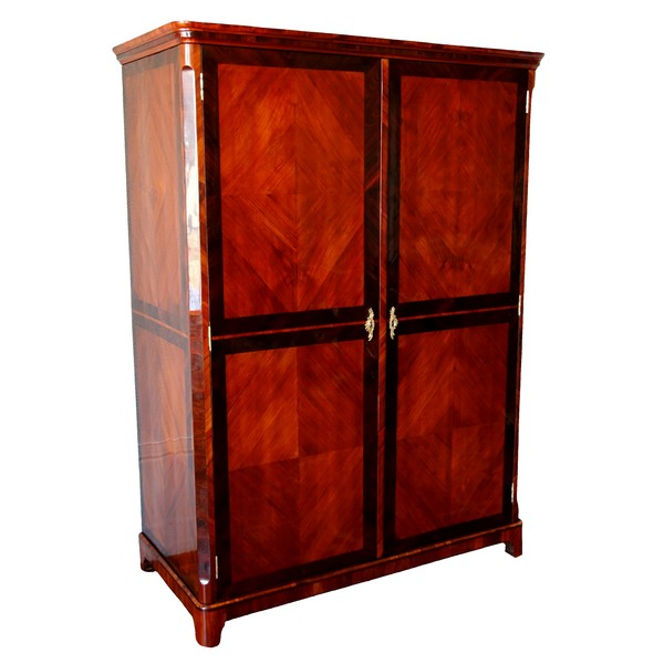 Claude Charles Saunier : large marquetry wardrobe - Louis XV Transition period - stamped