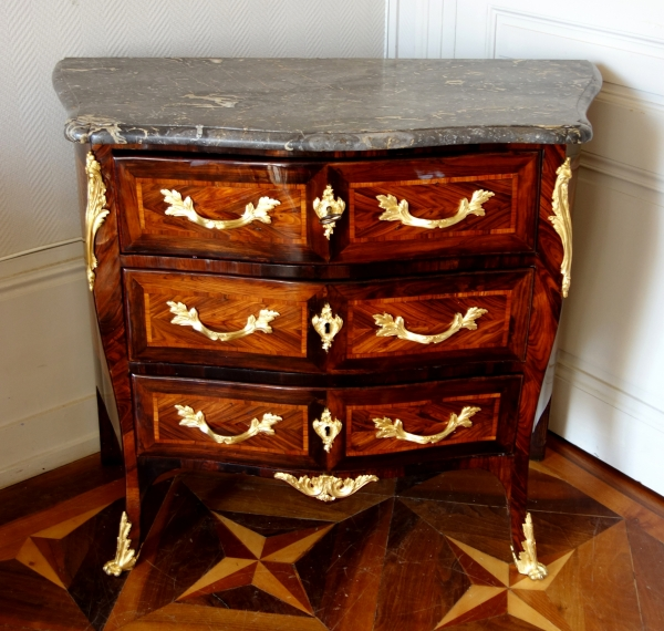JB Galet : Louis XV marquetry chest of drawers / commode - stamped