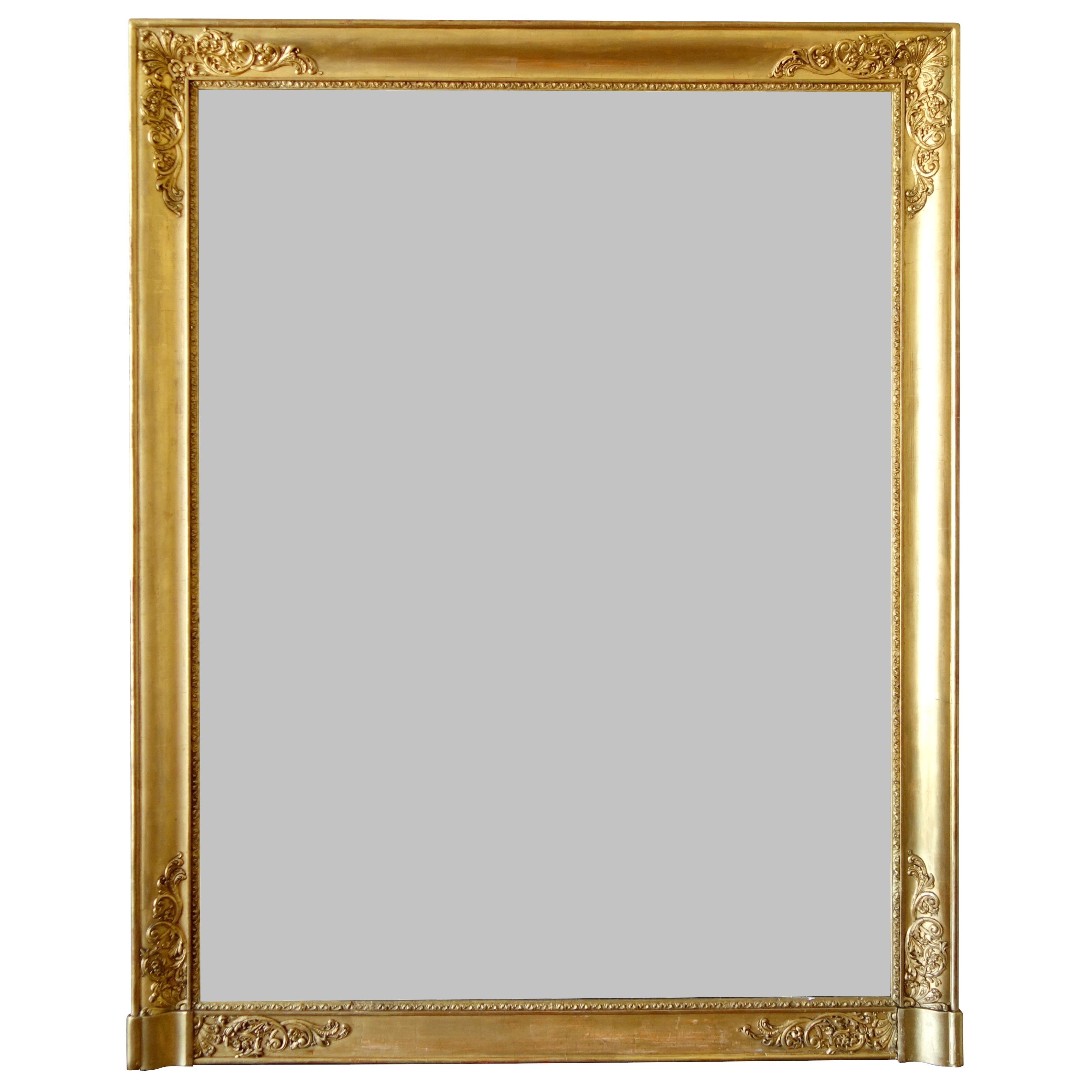 Large gold leaf gilt wood Empire mirror, mercury glass, 19th century - 102.5cm x 130cm