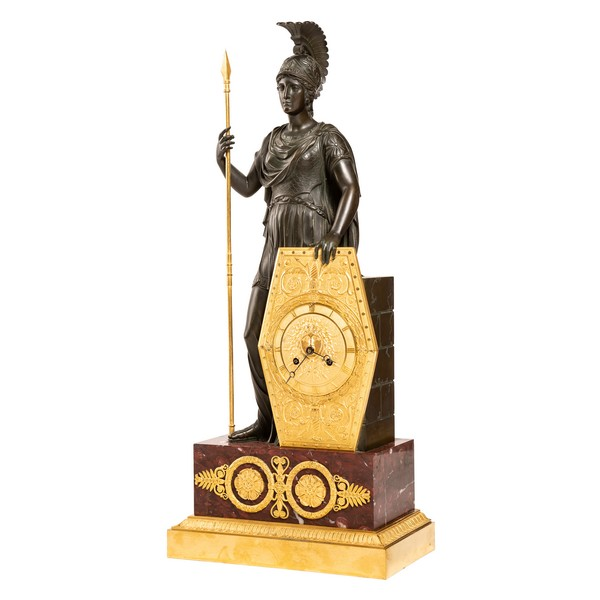 Gerard-Jean Galle : spectacular Empire ormolu and marble clock showing Pallas Athena circa 1820
