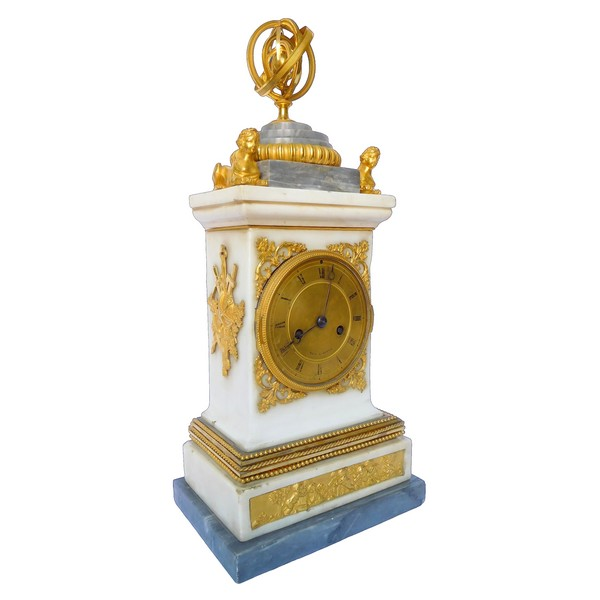 French Consulate marble and ormolu clock, early 19th century - circa 1800