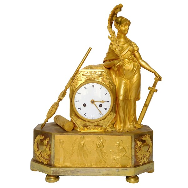 Empire ormolu clock - Athena, allegory of war - circa 1805
