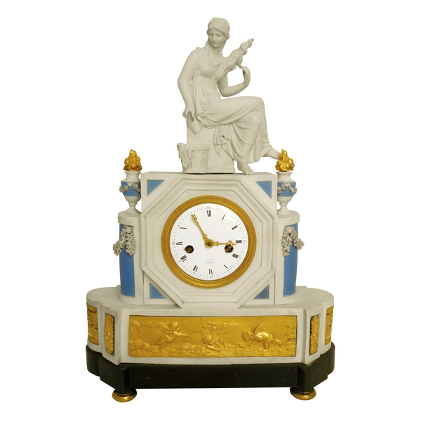 Late 18th century biscuit porcelain & ormolu clock : the spinner - allegory of destiny