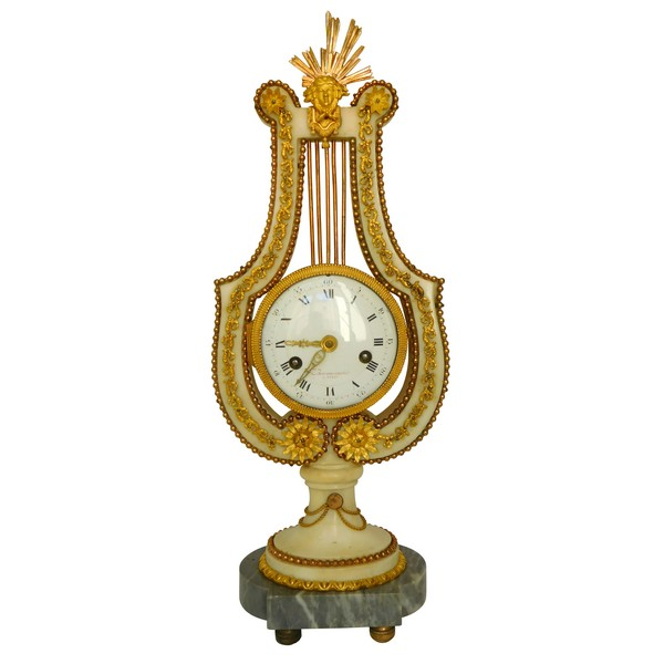 Lyra-shaped clock, Louis XVI period, ormolu and marble, late 18th century