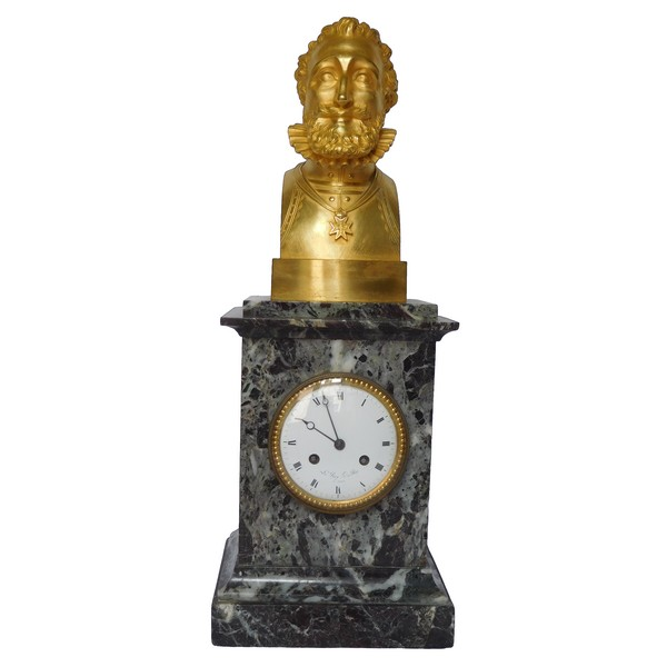 Ormolu and marble royalist clock showing Henri IV's bust, early 19th century