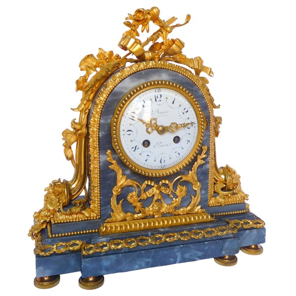 Louis XVI style Ormolu & Grey Marble Clock signed Deniere, 19th century circa 1870