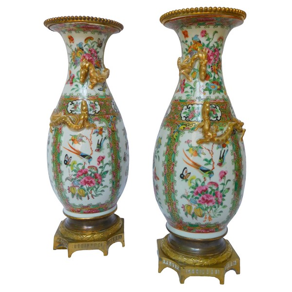 Pair of tall Canton porcelain and ormolu vases / potiches, late 19th century