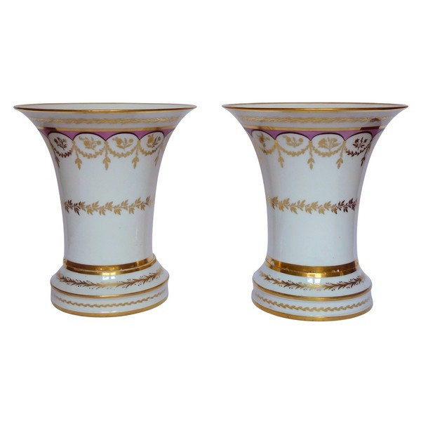 Paris porcelain planters enhanced with fine gold, Empire period (early 19th century)