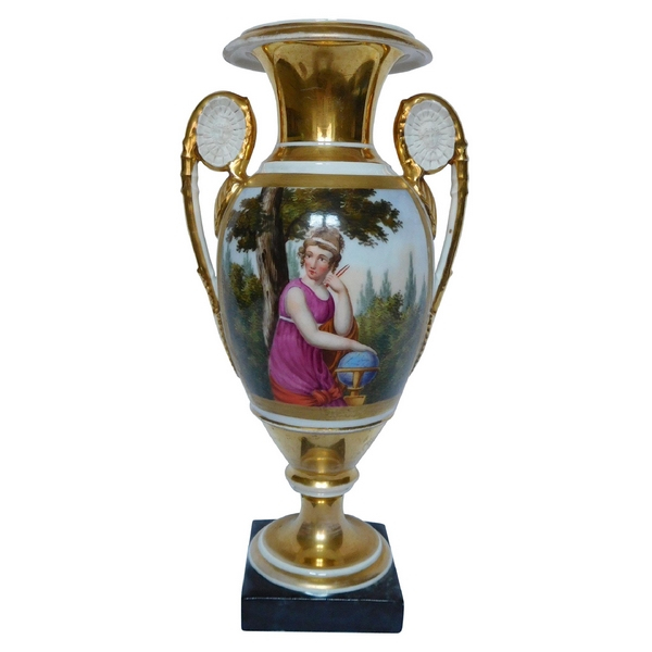 Tall Paris porcelain Medicis vase, Empire production, allegory of geography