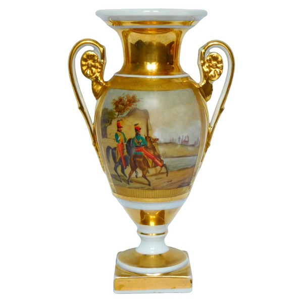 Paris porcelain Medicis vase, Empire production, Hussars riding horses
