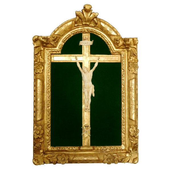 Antique French Christ, Louis XIV gilt frame, early 18th century