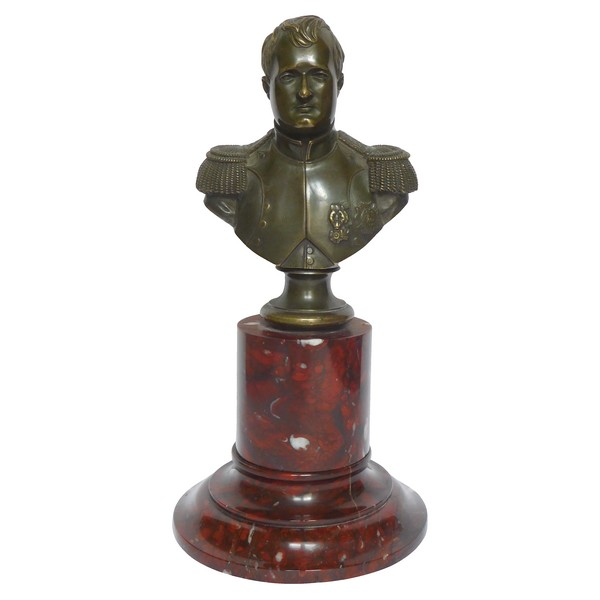 Bust of French Emperor Napoleon - patinated bronze and marble after Thomire