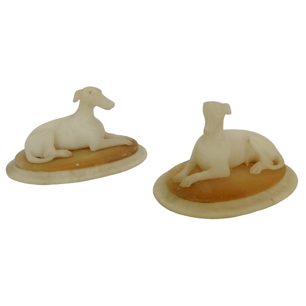 Pair of alabaster greyhounds-shaped paperweights, early 19th century