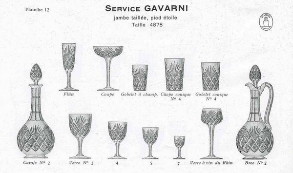 St Louis crystal wine or port glass, Gavarni pattern - 8cm