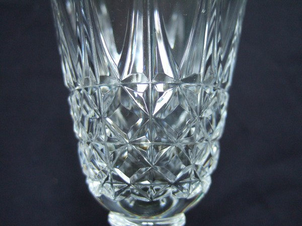 St Louis crystal tall water glass, Tarn pattern - 16cm - signed