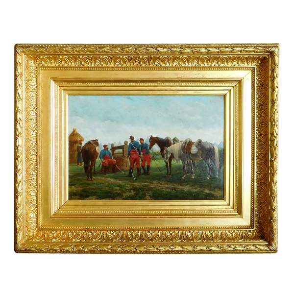 19th century French School : French horsemen at rest, oil on panel, Bombled