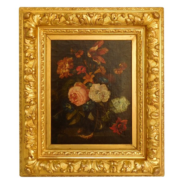 18th century Dutch school : bouquet of flowers, in a 19th century gilt wood frame