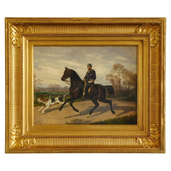 Aristocrat stag-hunter and his dog, oil on canvas - 19th century 1879