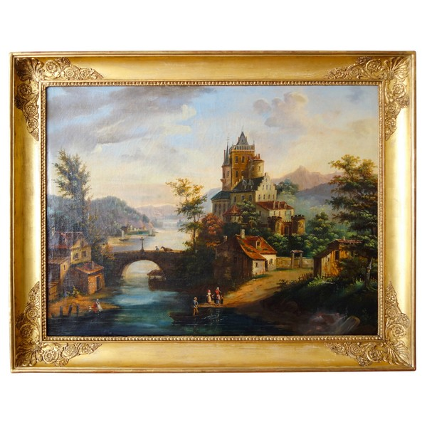 19th century French school : castle overhanging the village, large oil on canvas 89.5cm x 69cm